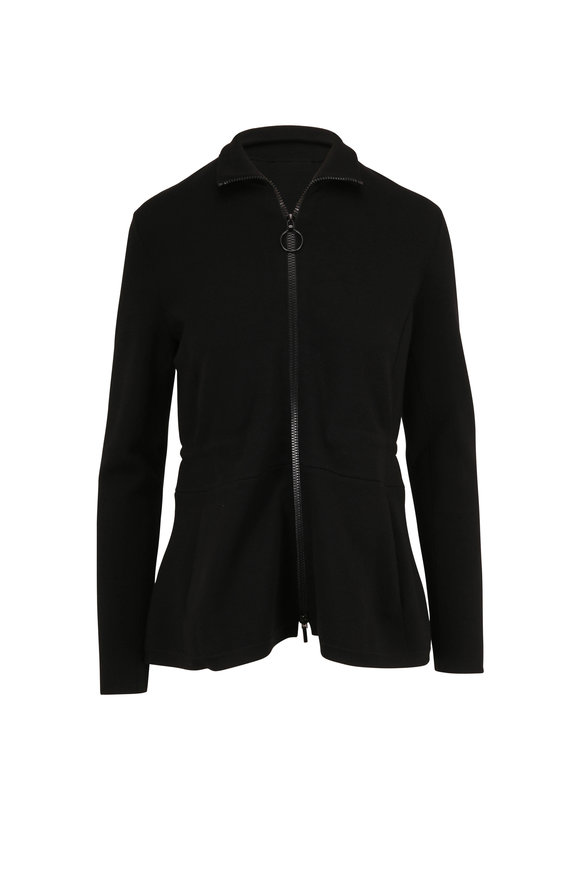 Akris Punto Black Cinched Waist Front Zip Knit Jacket