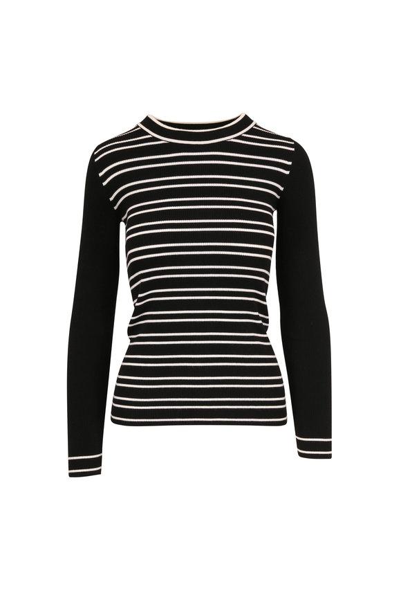 Akris Punto Black & Cream Striped Stretch Wool Knit Top