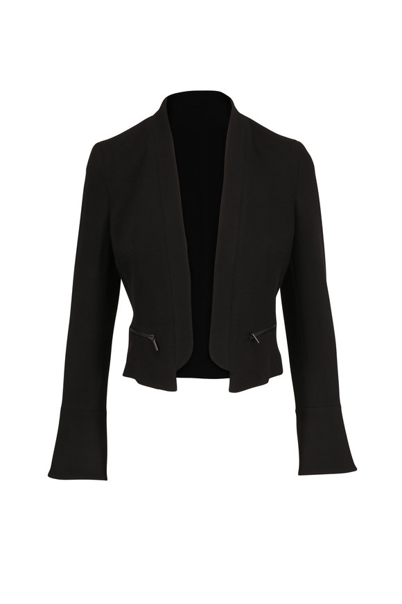 Akris Punto Black Wool Open Front Cropped Jacket