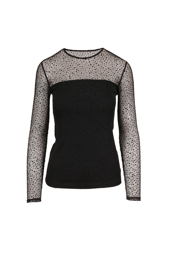 Akris Punto Black Dots Sheer Long Sleeve Top