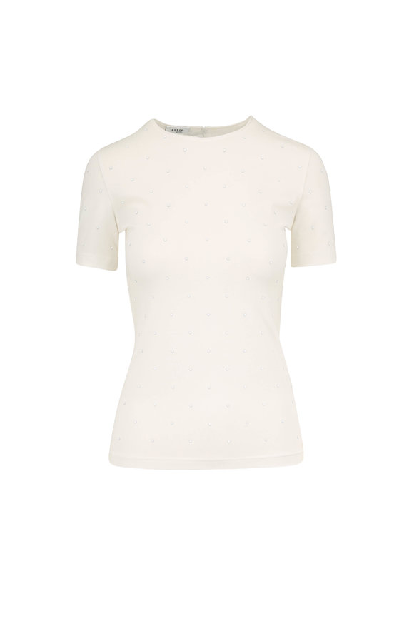 Akris Punto Cream Stretch Cotton Dot T-Shirt