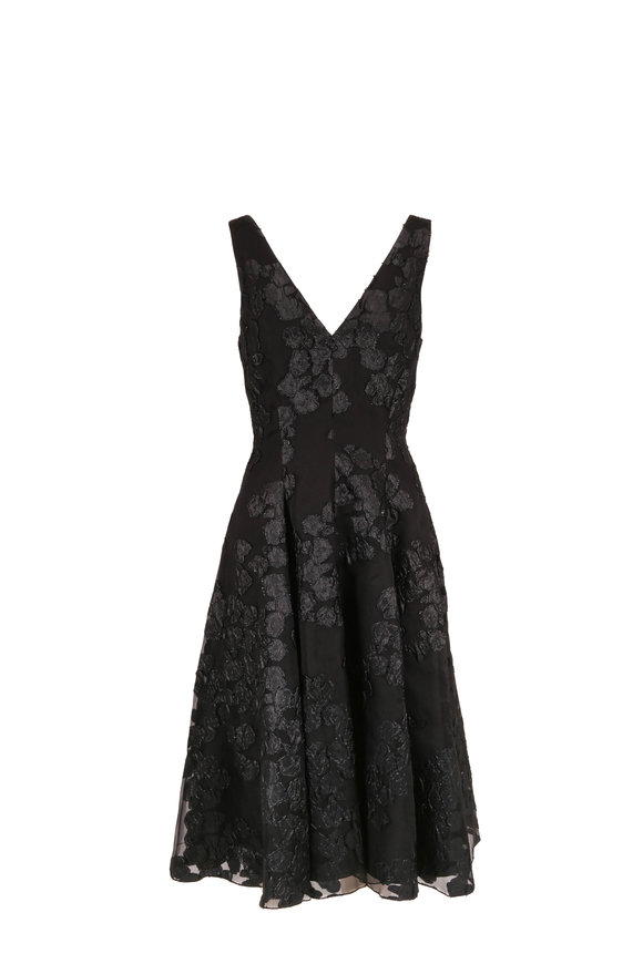 Lela Rose Black Jacquard V-Neck Sleeveless Dress