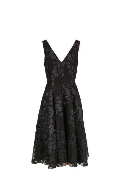 Lela Rose - Black Jacquard V-Neck Sleeveless Dress