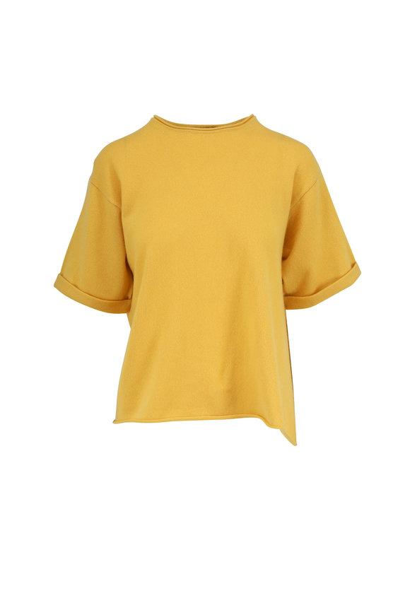 Dorothee Schumacher Luxury Volumes Gold Cashmere Short Sleeve Sweater