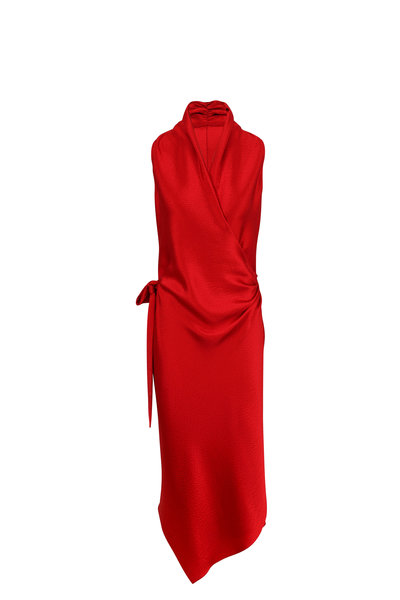 Peter Cohen - Victor Red Hammered Silk Wrap Dress