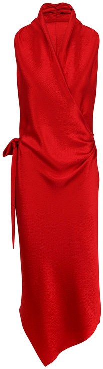 Peter Cohen Victor Red Hammered Silk Wrap Dress