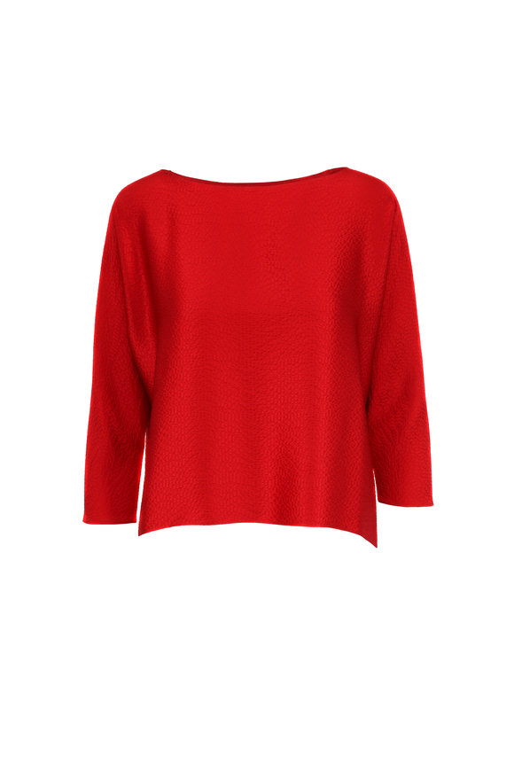 Peter Cohen Sway Red Hammered Silk Top