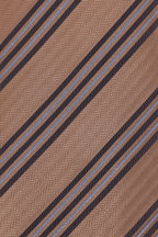 Brioni - Brown & Light Blue Diagonal Stripe Silk Necktie