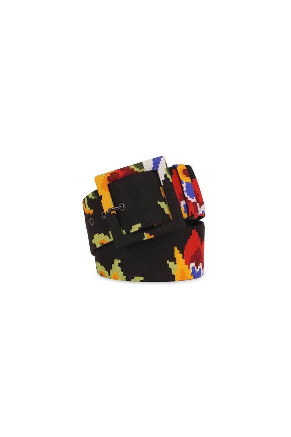 Carolina Herrera Black Multi Floral Square Buckle Belt