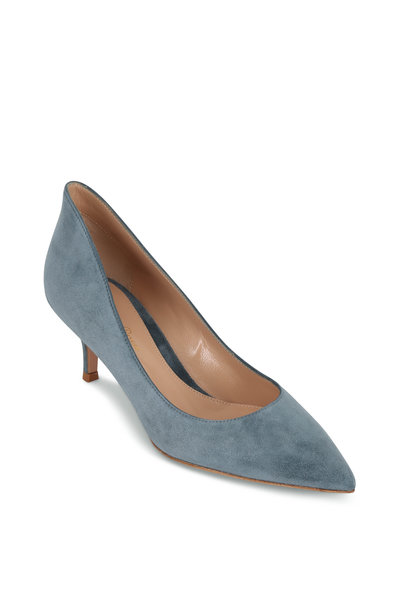 Gianvito Rossi - Light Blue Suede Kitten Heel, 50mm
