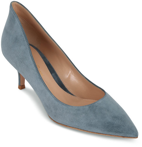 Gianvito Rossi Light Blue Suede Kitten Heel, 50mm
