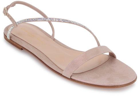 Gianvito Rossi Rosa Light Pink Crystal Strap Flat Sandal