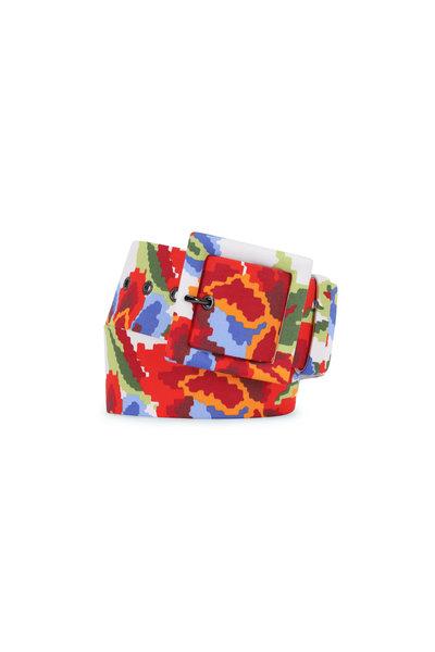 Carolina Herrera - White Multi Floral Square Buckle Belt