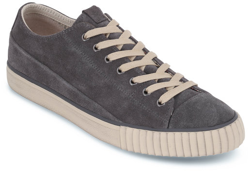 John Varvatos Gray Vulcanized Suede Low-Top Sneaker