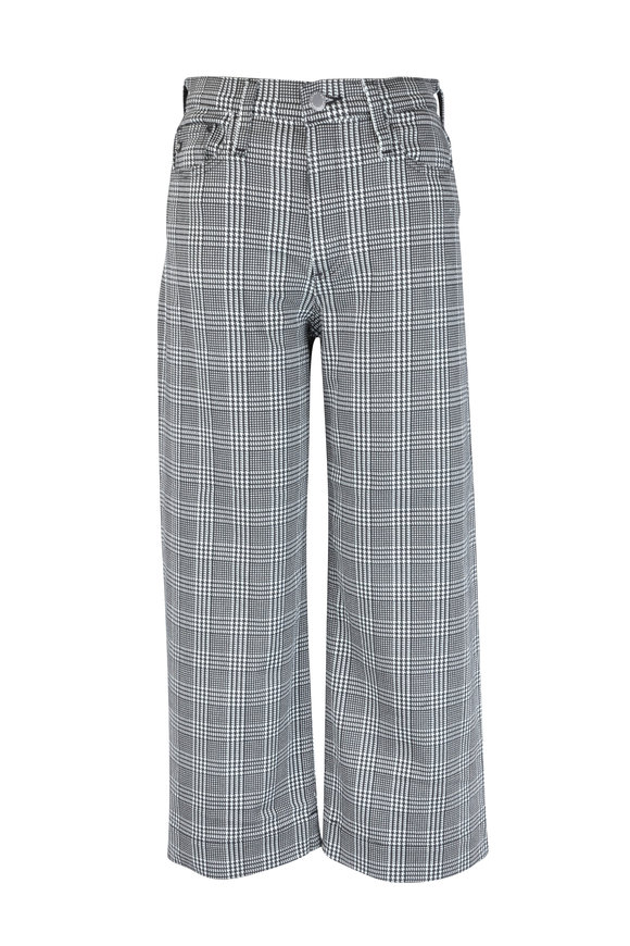 AG - Adriano Goldschmied Etta Black Houndstooth Plaid Wide Leg Crop Pant
