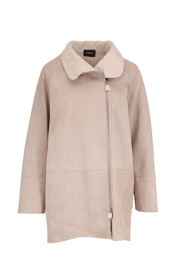 Akris Fairy Clay Suede Zip Water-Resistant Coat