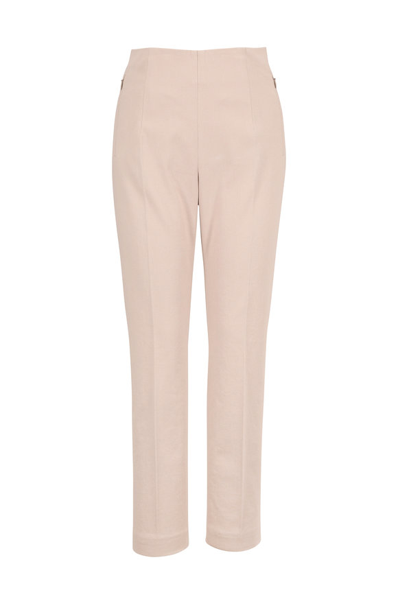 Akris Conny Clay Stretch Cotton Side Zip Ankle Pant