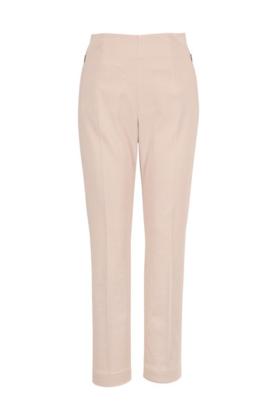 Akris - Conny Clay Stretch Cotton Side Zip Ankle Pant
