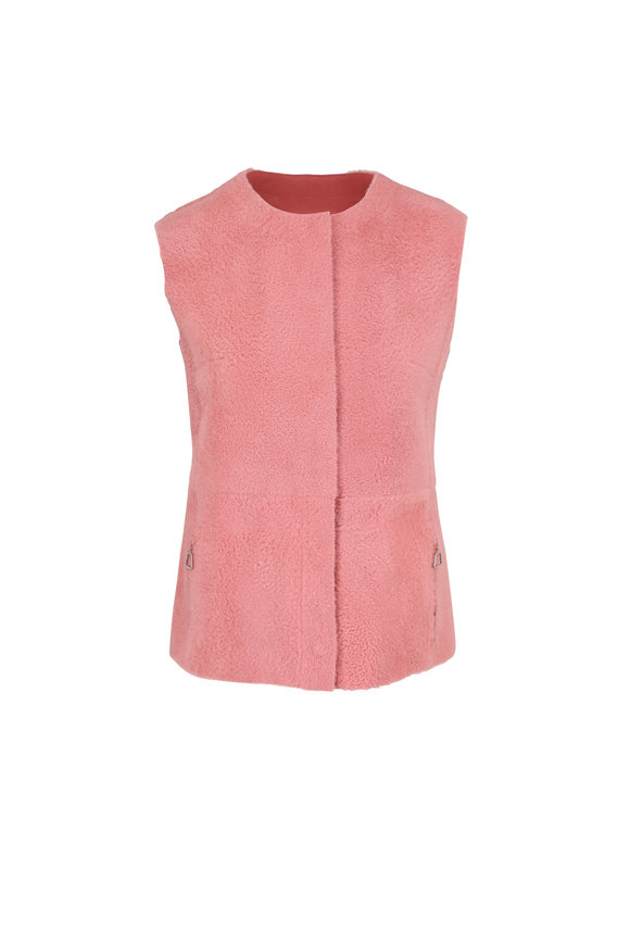 Akris Cherry Blossom Lamb Reversible Gilet