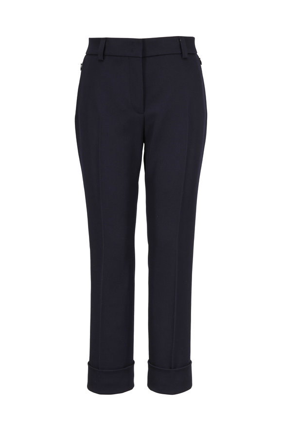 Akris Maxima Navy Blue Wool Cuffed Pant