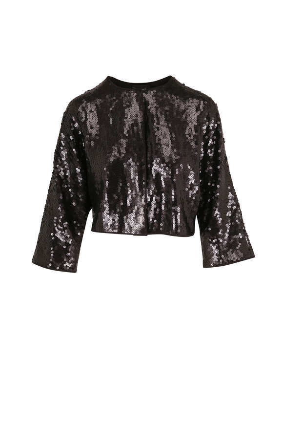 Akris Fidel Black Sequin Bolero Jacket