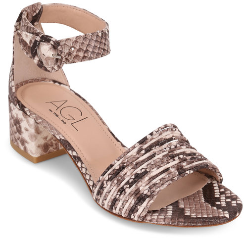 AGL Snakeskin Print Leather Multi-Band Sandal, 50mm