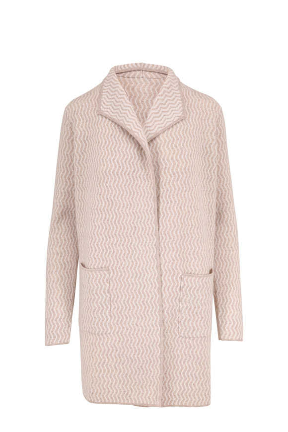 Kinross Fawn & Ivory Cashmere Jacquard Open Cardigan