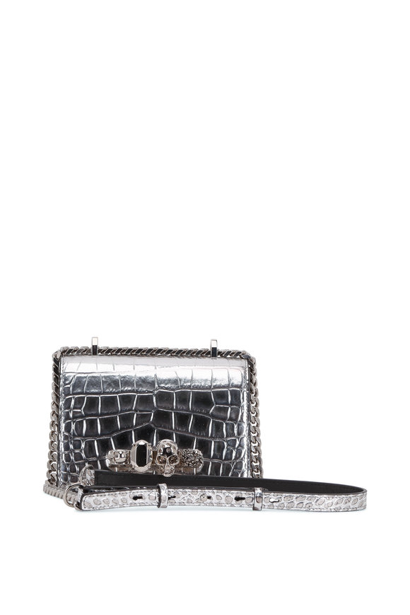 Alexander McQueen Silver Croc Embossed Leather Knuckle Shoulder Bag