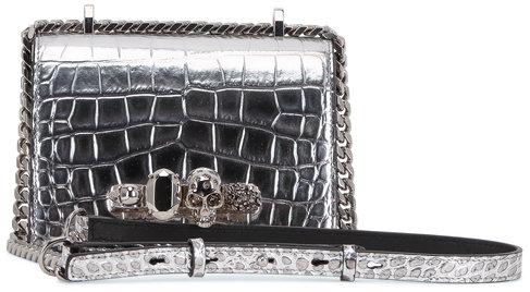 Alexander McQueen Silver Croc Embossed Leather Knuckle Shoulder Bag