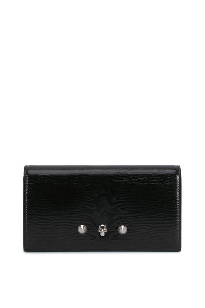 Alexander McQueen - Glossy Black Embossed Leather Continental Wallet