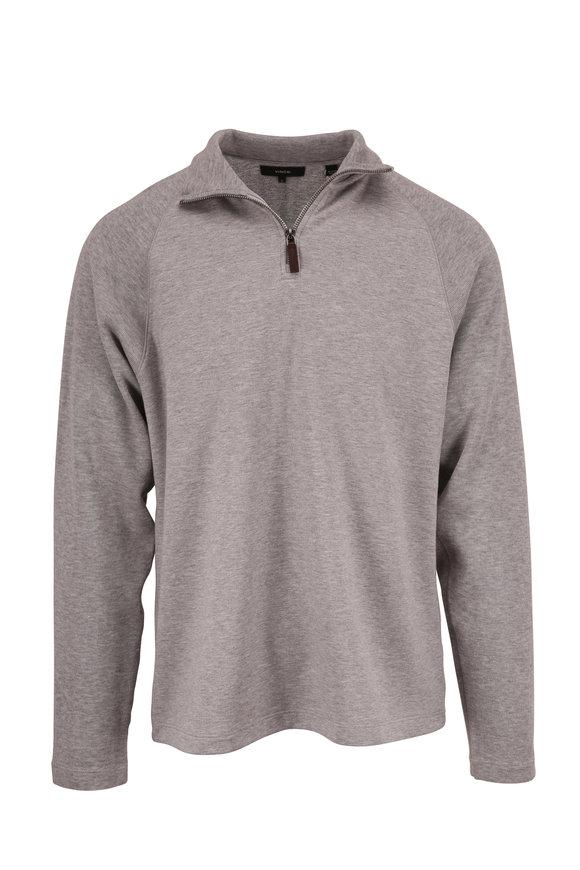 Vince Heather Gray Quarter-Zip Raglan Sleeve Pullover