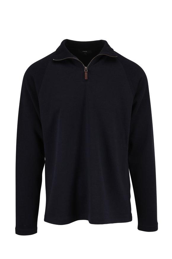 Vince Navy Quarter-Zip Raglan Sleeve Pullover