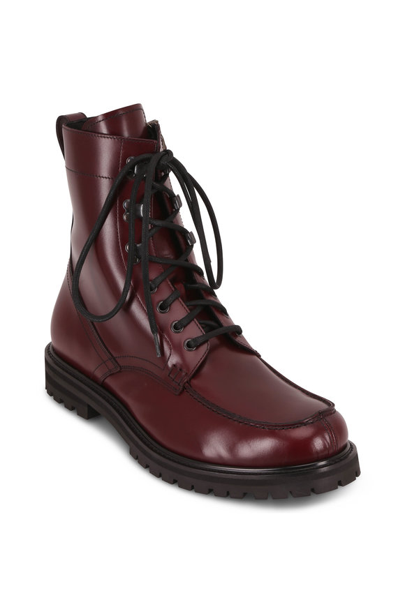 Aquatalia Ira Oxblood Leather Lace-Up Weatherproof Boot