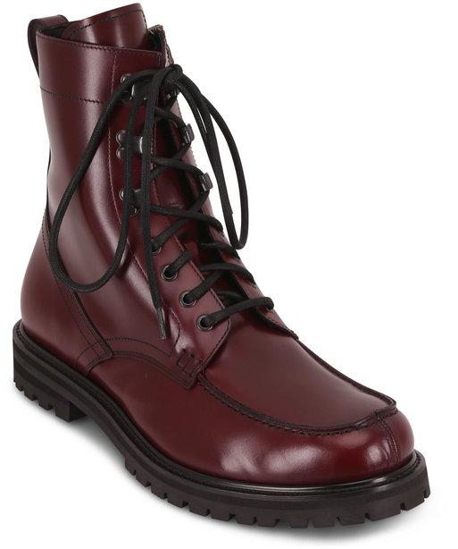 Aquatalia Ira Oxblood Leather Lace-Up Weatherproof Boot