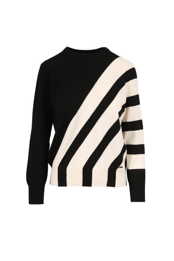Akris Black & Jasmine Cashmere Intarsia Stripe Sweater