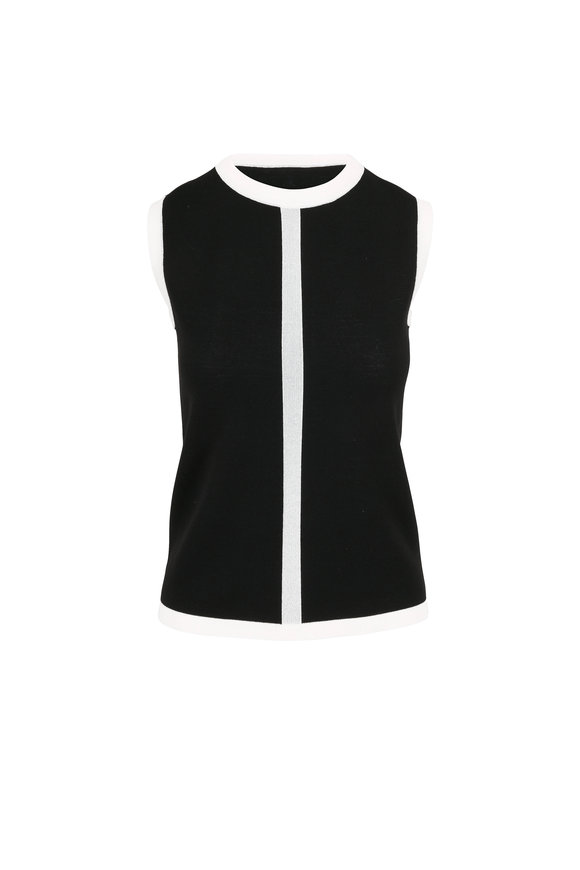 Escada Sinnar Black & White Tipped Knit Shell