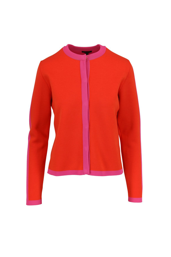 Escada Singh Tropical Orange & Pink Tipped Cardigan
