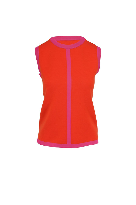Escada Sinnar Tropical Orange & Pink Tipped Knit Shell