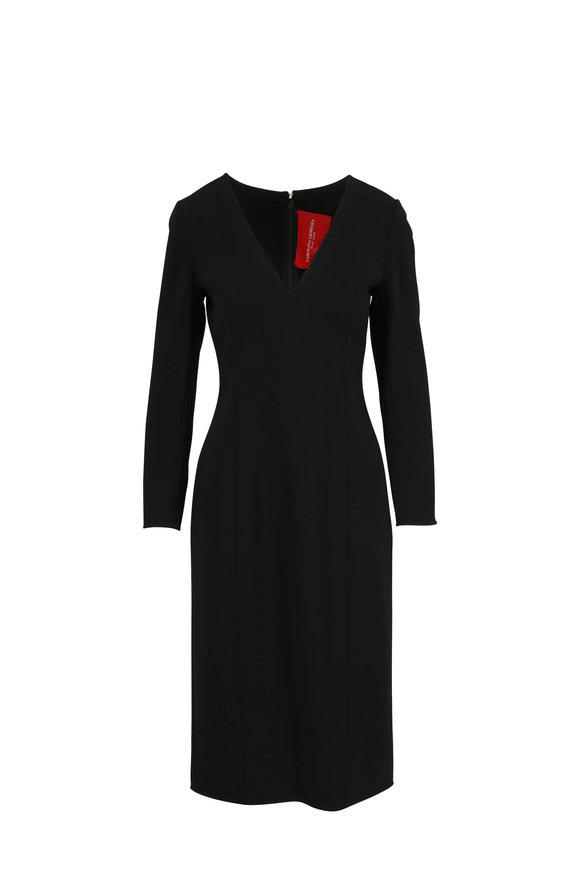 Carolina Herrera Black V-Neck Three-Quarter Sleeve Sheath Dress
