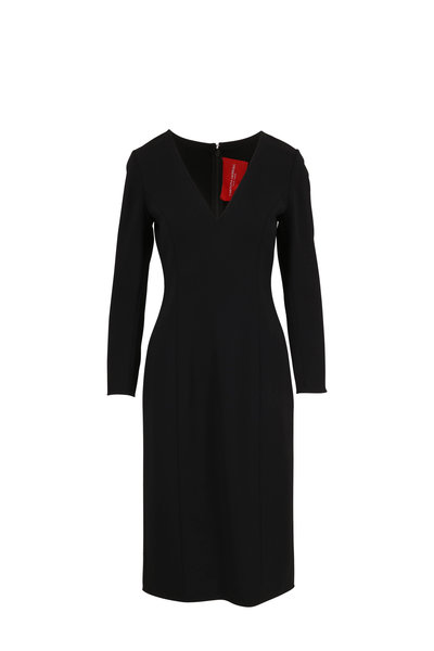 Carolina Herrera - Black V-Neck Three-Quarter Sleeve Sheath Dress