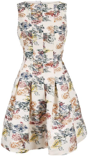 Oscar de la Renta Ivory Embroidered Fit & Flare Sleeveless Dress