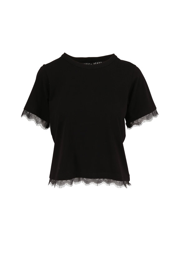 Veronica Beard Orsini Black Lace Trim T-Shirt