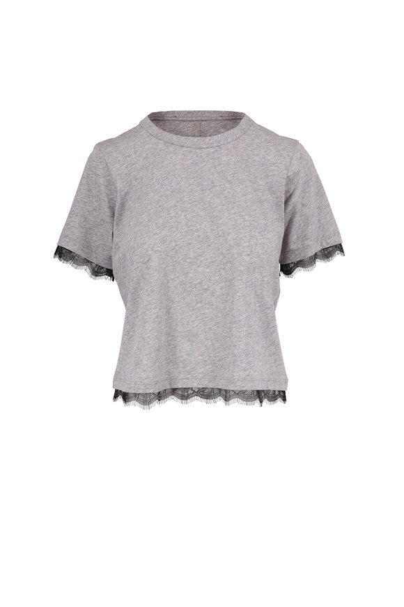 Veronica Beard Orsini Heather Gray Lace Trim T-Shirt