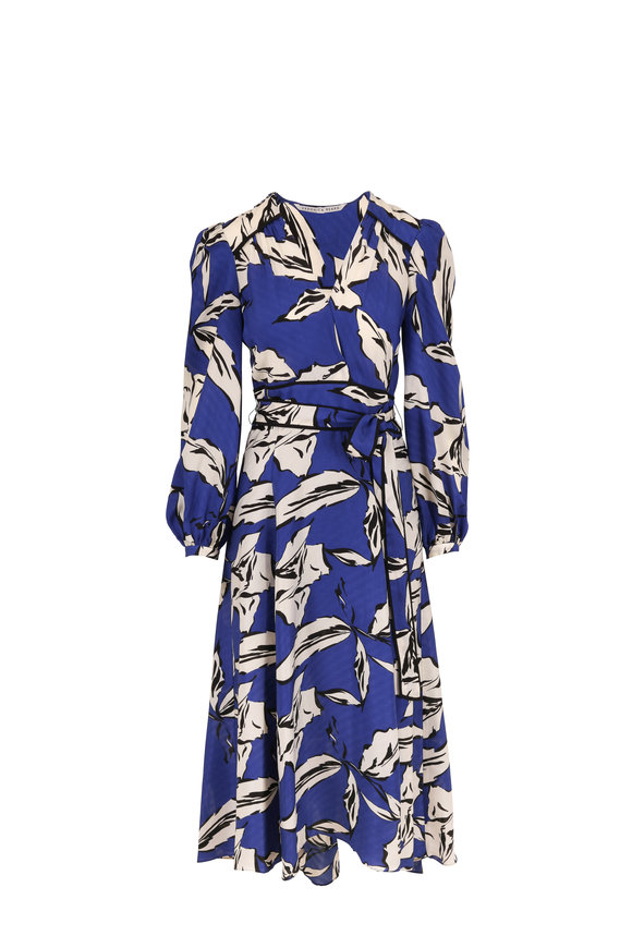 Veronica Beard Mclean Ultramarine Multi Print Long Sleeve Dress