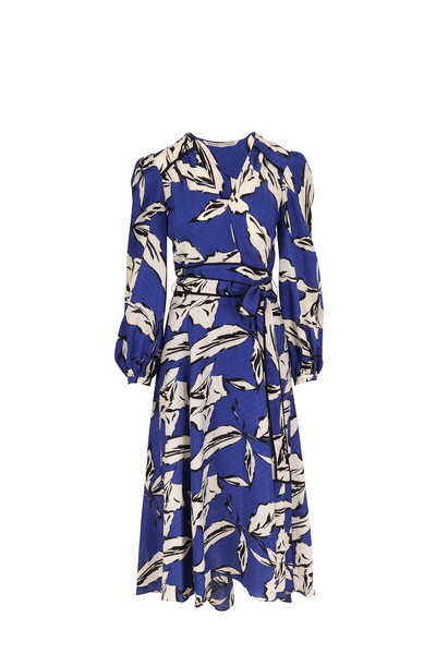 Veronica Beard - Mclean Ultramarine Multi Print Long Sleeve Dress