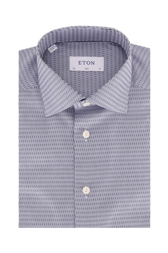 Eton Navy Blue Textured Slim Fit Dress Shirt