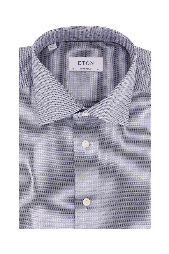 Eton Navy Blue Textured Contemporary Dress Shirt