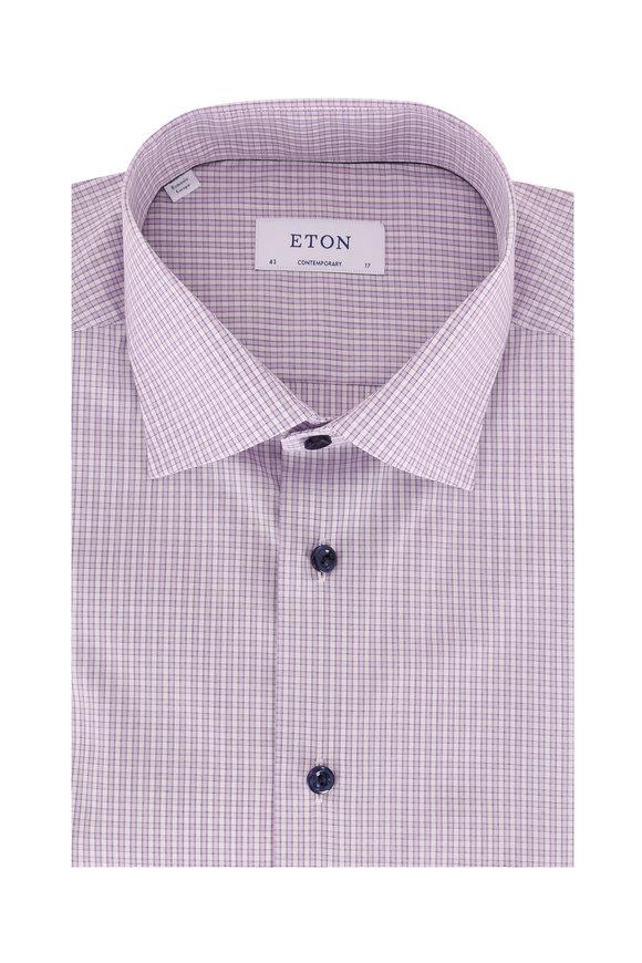 Eton Lilac Plaid Contemporary Fit Dress Shirt