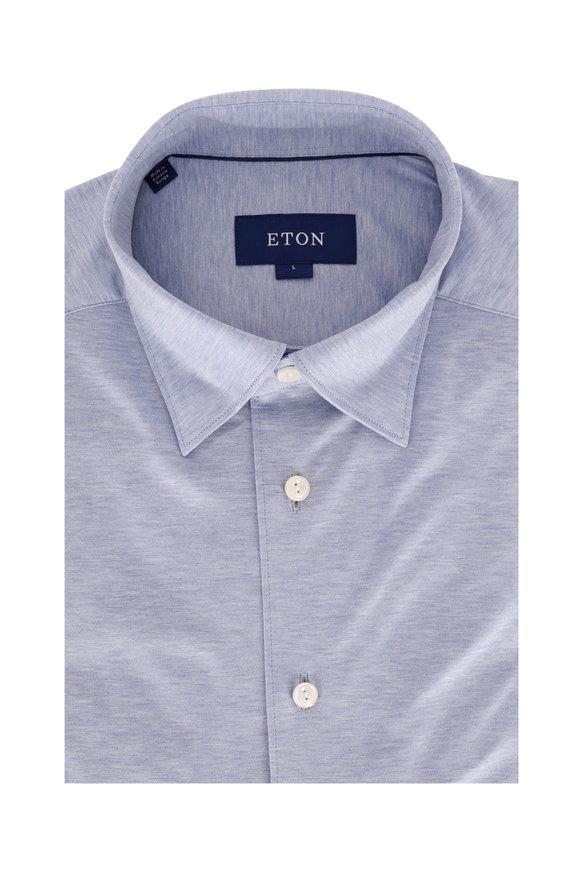 Eton Light Blue Jersey Knit Sport Shirt