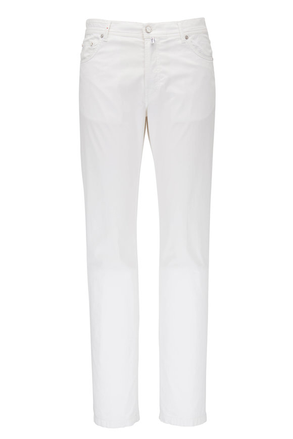 Kiton White Five Pocket Slim Fit Jean